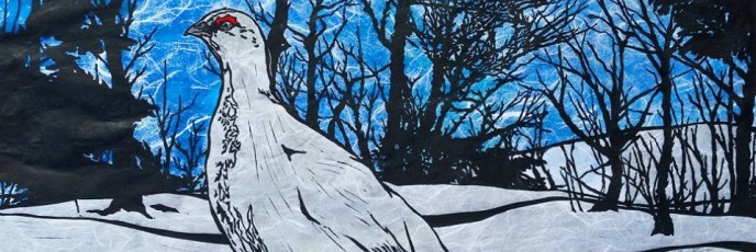 """Upcoming Boise Weekly Cover: """"Ptarmigan in Snow on Blue Linocut"""" December 7th-13th"""
